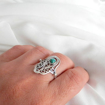 Hand of god ring, Hamsa ring, filigree hamsa ring, silver ring, Turquoise Hamsa, Hamsa hand ring, Turquoise band ring, hamsa jewelry
