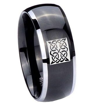 10MM Dome Glossy Black Middle Square Celtic Two Tone Tungsten Men's Ring