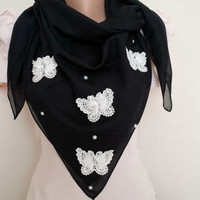 Butterfly Scarf Pearl Scarf, Lightweight Soft Black Scarf, Women Accessory