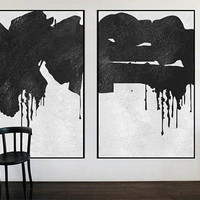 extra Large Abstract art canvas Painting 2 pieces black and white wall art acrylic painting, wall art for large living room minimal art