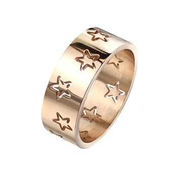 Starlet - Women's Stainless Steel Rose Gold IP Ring with Carved Out Stars
