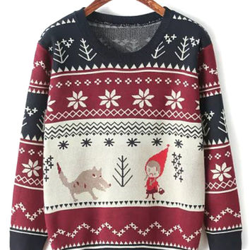 Multicolor Snowflake Cartoon Pattern Knit Jumper