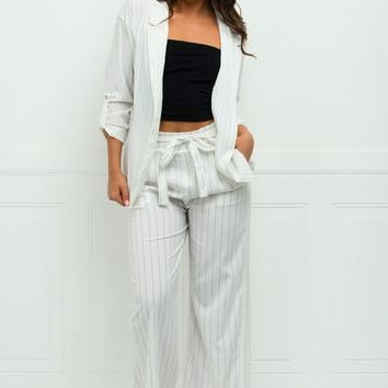 Windy Striped Blazer - White