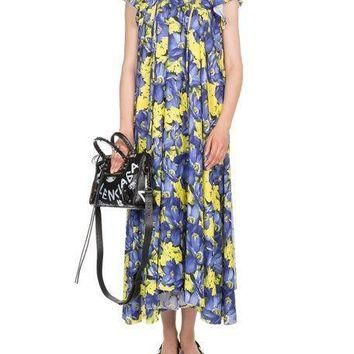balenciaga poppy print cap sleeve midi dress 2