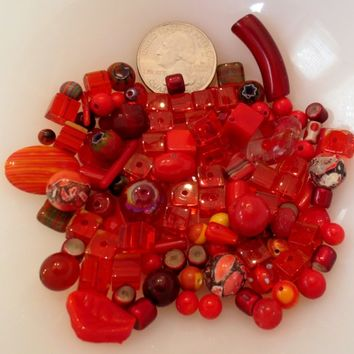 Red Gemstone, Glass and Natural Bead Mix