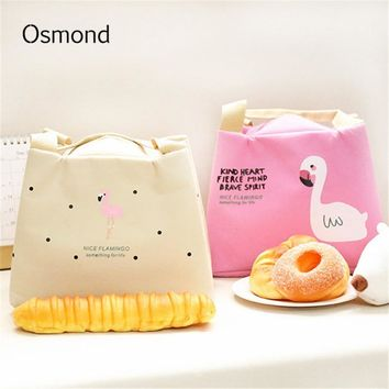 Osmond Thermal Lunch Bag Cute Flamingo Picnic Boxes For Kid Canvas Cartoon Animal Printing Food Cooler Bags Insulated Tote