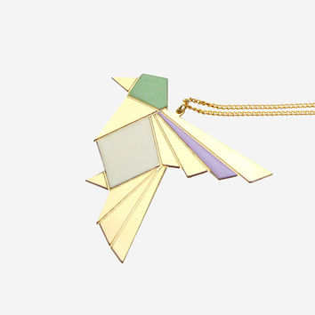 Origami Exotic Bird Necklace – Aqua, Grey, Lavender