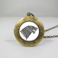 Game of thrones Locket necklace,Game of thrones house Stark crest Photo locket necklace,a song of ice and fire photo locket