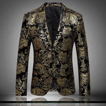 High-end Fashion Luxury Men's Golden Floral Blazers Business Casual Suit Wedding Dress