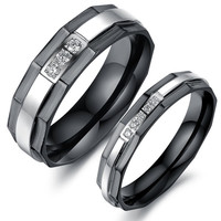 His and hers anniversary wedding band Black couple rings set = 1930050052