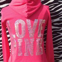 LOVE PINK  - Pink and Silver Hoodie Jacket