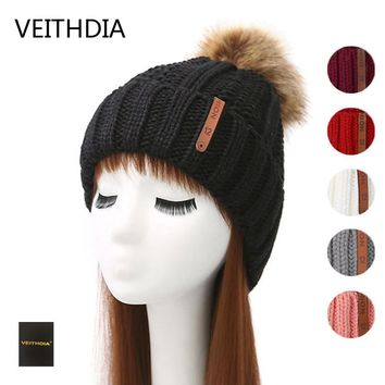 VEITHDIA Mink and fox fur ball cap pom poms winter hat for women girl 's hat knitted beanies cap brand new thick female cap 3