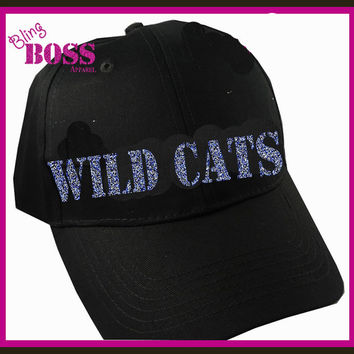 Team Name Hat Bling Design your Colors Print Mustangs Rockets Vikings Wild Cats Ladies Spirit Wear Sparkle Women Custom Sports Glitter Hat