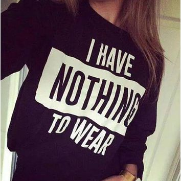 DCCKR2 [i have nothing to wear] letters new men and women sweater creative sweater