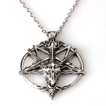 Baphomet Inverted Pentagram Goat Head Pendant Necklace Baphomet LaVeyan LaVey Satanism Occult Metal Pendant