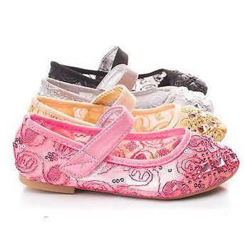 Sofia Pink Fabric By Dotty, Children Girls Rhinestone & Sequins Embroidered Mary Jane Flats