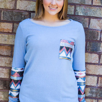 Aztec Glimmer Top - Light Blue