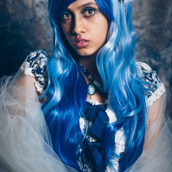 Armour - Blue/Light Blue Long Wavy Wig