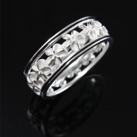 SILVER 925 HAWAIIAN 5MM PLUMERIA FLOWER LEI RING BLACK ENAMEL BORDER SIZE 3-10