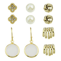 Golden Artificial Pearl and Rhinestone Designed Floral Earrings