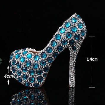 Gorgeous Unique Sparkling Blue Crystal Diamond Wedding Bridal Shoes Handmade Rhinestone Party Prom Shoes Bridesmaid Shoes