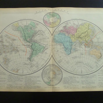 Old map of the world 1883 original antique Frenche poster about two hemispheres worldmap alte karte der Welt Weltkarte colonial 13x19'' big