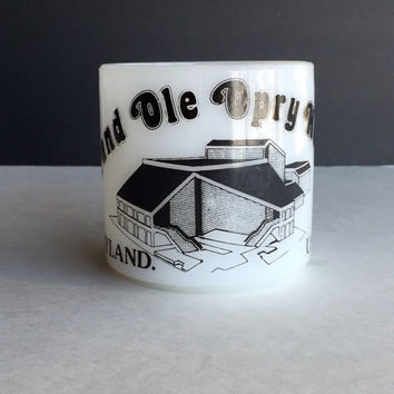 Vintage Federal Glass Grand Ole Opry House Collectible Mug, Collectible Opryland Milk Glass Mug