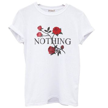 Nothing Letter Print T Shirt Rose Harajuku T-Shirt Women 2018 Summer Casual Short Sleeve TShirt Plus Size Punk Shirts