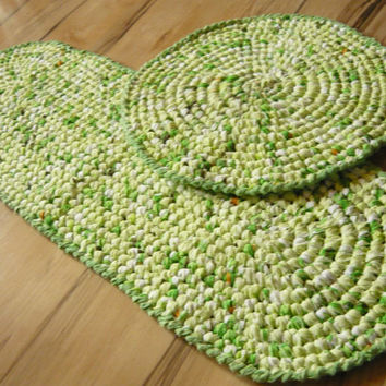 Bathroom Rugs Set of 2, Green shades, Oval and round Crochet Rug, Ready to ship