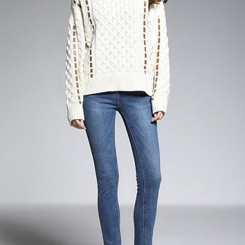 White Appliques Oversize High Neck Fashion Pullover Sweater