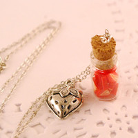 strawberry  jar necklace  food jewelry by SweetArtMiniatures