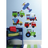 Wallies® Peel and Stick Wall Decal - OK Trains, Planes & Trucks