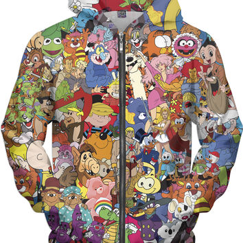 80's Cartoon Collage Zip-Up Hoodie