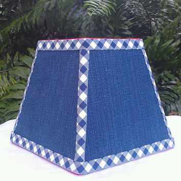 Lampshade Square Frame Dark Blue Denim Blue Jeans Navy White Gingham Trim Red Grosgrain Beach Table Floor Pendant Lamp Brass Washer Top Cute