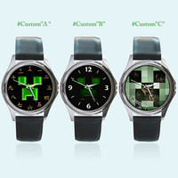 Minecraft Face Round Metal Watch