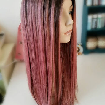 Rose Pink Lace Front Synthetic wig, slight textured hair, Long straight pink wig, Fairy Hair Wig, Photo Shoot wig, Photo Prop wig