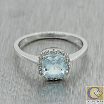 Modern Estate 14k White Gold 1.00ct Cushion Cut Aquamarine Diamond Cocktail Ring