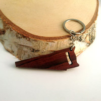 Wooden Saw Tool Keychain, Walnut wood, Environmental Friendly Green materials