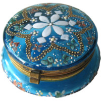 Antique Patch Box Aqua Blue Glass Enamel / Vintage Vanity