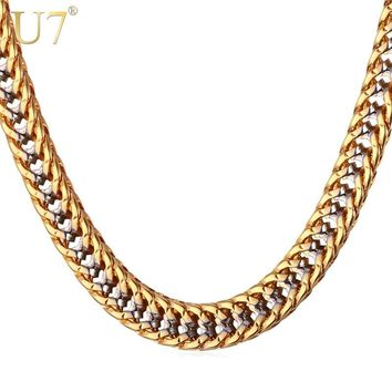 97c580c6681d U7 Chain Necklace Men Gift Two Tone Gold Color Collier Dropshipp. Item  Type  Necklaces Fine or Fashion  Fashion Brand Name  U7 Pendant Size  ...