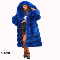 Fur jacket new 2017 imported imitation mink fox fox coat coat blue cross stripe gorgeous abundance new fur coat woman