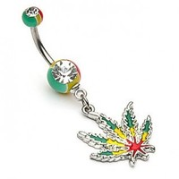 Jamaican Pot Leaf Navel Ring with Jamaican Gem Ball Ends - 14G - 3/8