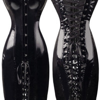 Sexy Lady Gothic PVC Lace Up Bondage Mini Dress Corset Clubwear Lingerie