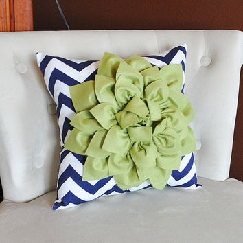 Sage Decorative Throw Pillow Sage Green Dahlia on Navy and White Chevron Pillow -Home Decor-