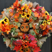 Owl & Sunflowers Fall Deco Mesh Wreath