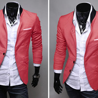 Color Block Stand Collar Long Sleeves Blazer