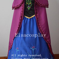 Anna Dress, Anna Costume (The flowers are the Embroidery Design) Adult/Kids