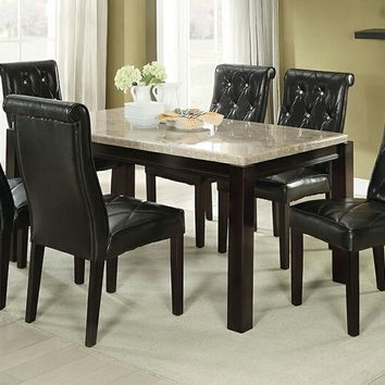 7 pc Marleen II collection espresso finish wood marble top dining table set with tufted seats