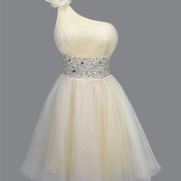 Charming Sweetheart Classic Rhinestones Single Shoulder Prom Dresses