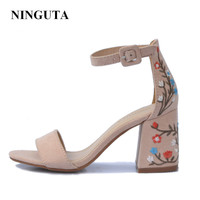 Sexy high heels embroidered gladiator women sandals summer shoes woman